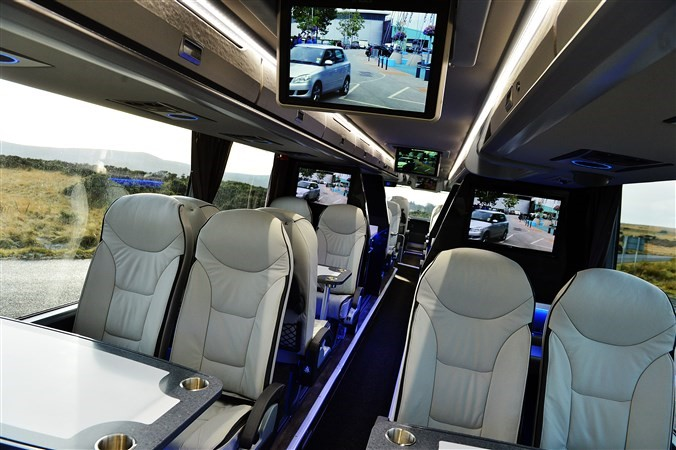 Interior of VIP coach with tables
