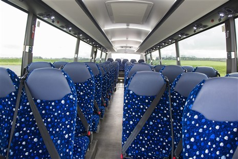 72 seats with 3 point seat belts